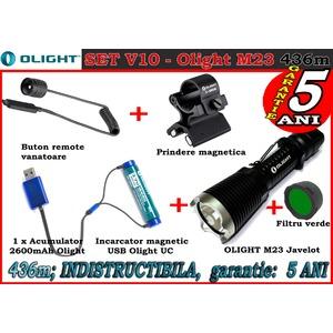 Set complet lanterna led vanatoare Olight V10 - M23 reincarcabil 2600mah