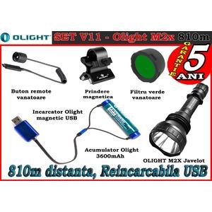 Set complet lanterna led vanatoare Olight V11 - M2X reincarcabil 3600mAh