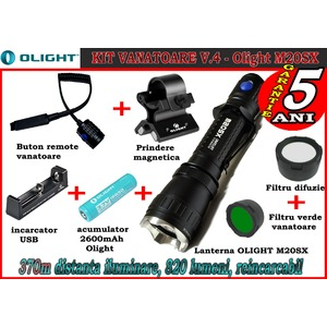Set complet lanterna led vanatoare Olight V4 - M20SX reincarcabil