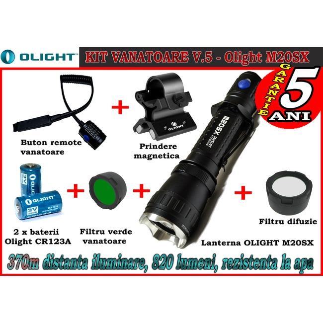 Set complet lanterna led vanatoare Olight V5 - M20SX baterii